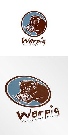 Warpig Energy Drink Logo by patrimonio on @creativemarket