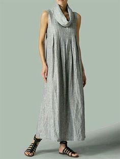 Turtleneck Gray Women Summer Dress Shift Basic Paneled Dress
