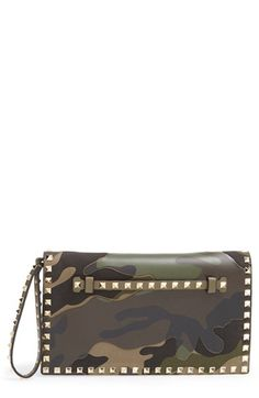 Valentino 'Rockstud Camo' Flap Clutch available at #Nordstrom $2045 FP