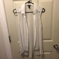 Sheer H&M Tank White sheet H&M button up tank. Worn once and no longer fits. Bundle and save 20%! H&M Tops Tank Tops