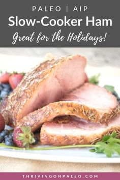This easy crock pot ham is not only Paleo and AIP-compliant, but gluten-free and dairy-free and a great main dish for holidays like Thanksgiving and Christmas!