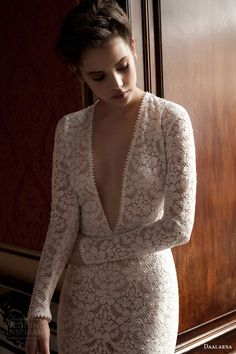 daalarna 2015 pearl bridal collection long sleeve wedding dress deep v neck
