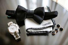 Groom's Bow Tie, Watch & Cuff Links |   Photography: Samuel Lippke Studios. Read More:  http://www.insideweddings.com/weddings/romantic-jewish-wedding-with-lush-ivory-flowers-rose-gold-details/790/
