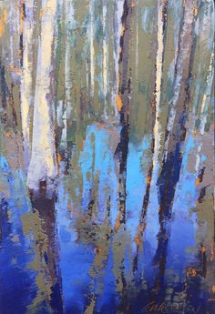 """Congaree Blue Water"", oil, 6 x 4″, © Mary Bentz Gilkerson #abstractartpaintingstoinspire"