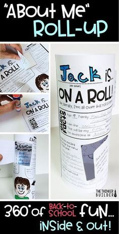 """These """"About Me"""" Roll Ups make the perfect back to school display. I love the little peek-through windows to get to know students on the """"inside"""" too!"""