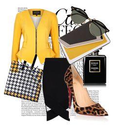 """Yellow-Black"" by veyruda on Polyvore featuring moda, Whiteley, River Island, Boohoo, Pierre Cardin, Christian Louboutin, âme moi ve Ray-Ban"