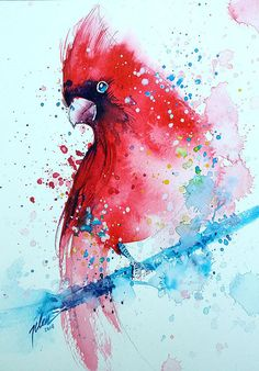 Cardinal * watercolor with gouache painting * * art print Watercolor Paintings For Beginners, Watercolor Images, Easy Watercolor, Watercolor Animals, Splash Watercolor, Gouache Painting, Painting & Drawing, Watercolour Paintings, Watercolors