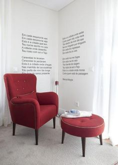 I love red in read corner with poetry on the walls :)  Paris armchair and table bouton by Sheila Moura for lolocadesign. Www.glamourarte.pt