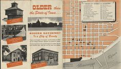 Davenport is indeed older than the state of Iowa...by ten years! Proud to be older than dirt!! This portion of a map from the 1950s boasts about points of interest in this Modern City of Davenport! #specialcollections #davenporthistory #mid-centurymodern #maps Modern City, Local History, Iowa, Genealogy, Maps, 1950s, Collections, Blue Prints, Map