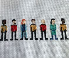 Cross stitch pattern (in excel and picture form) featuring the main crew from Star Trek: The Next Generation.