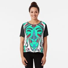 Teal Tribal African Mask by kenallouis | Redbubble African Wall Art, Tribal African, Black Artists, Top Artists, Culture T Shirt, Cool Graphic Tees, Black Artwork, Masks Art, African Masks