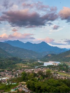 A pink and purple sunset over the Subansiri river valley. The town is called Daporijo, and it's situated in Arunachal Pradesh state in the northeast of India.