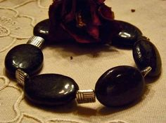 Black Labrodite Bracelet with Tibetian Silver by DebWiseCreations, $12.99