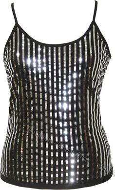 Dark Star Stretch Top with Chrome-look Vertical Stripes