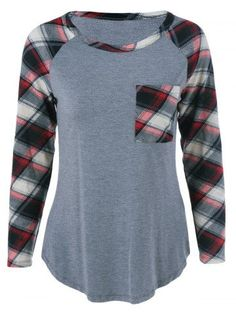 GET $50 NOW | Join RoseGal: Get YOUR $50 NOW!http://m.rosegal.com/plus-size-tops/plus-size-one-pocket-plaid-733722.html?seid=7018675rg733722