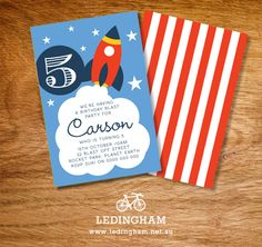 Rocket Party Invitations DIY Printables by LedinghamShop on Etsy, $12.95