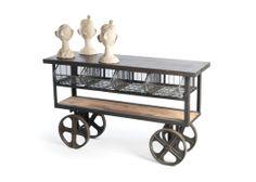 "ABILIO Industrial cart on big wheels Dimensions: 61.5"" L x 19"" D x 36"" H  Material: Steel Finish: Vintage Industrial SKU#GHL32501 yuri@sescolite.com"