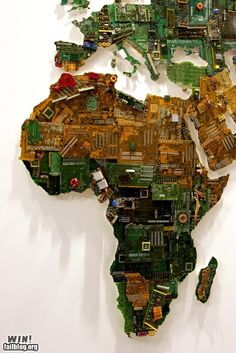A map of Europe, Africa and part of the Middle East made out of circuit boards. I can see this as an illustration in Wired magazine.