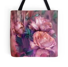 Raindrops On Peach Roses wearable art tote bag by Carol Cavalaris.