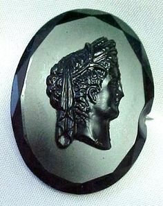 Antique Victorian Jet Cameo Mourning Brooch Pin C Clasp | eBay