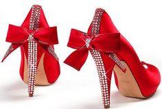 bow high heels | black-and-white-bow-girl-high-heels-red-high-heels-Favim.com-329542 ...