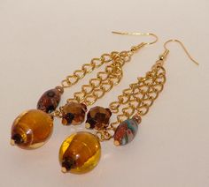 Gold And Brown Dangle Lampwork Earrings - pinned by pin4etsy.com