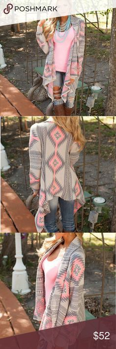 Southwestern/tribal Outer Wrap Beautiful long sleeved lightweight wrap for all seasons. Asymmetrical hemline hits at knees. Pink, white, gray. NWT. Still in package. Smoke free/pet free home. No trades. I only deal through Poshmark. MAGNOLIA BOUTIQUE Other