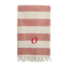 Linum Home Textiles Patara Pestemal Beach Towel Letter: O, Color: Red