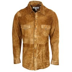 Men's Ryan Michael Distressed Suede Tan Shirt Jacket at Maverick Western Wear
