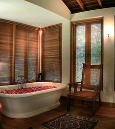 Traditional villa house located in Seminyak, Bali can be a fun alternative holiday spots Thai Design, Natural Bathroom, Thatched Roof, Villa Design, Koh Samui, Luxury Villa, Corner Bathtub, Contemporary, Modern