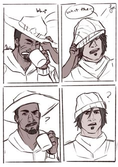 Overwatch reaper /Gabriel and mccree and young pharah Overwatch Hanzo, Overwatch Reaper, Overwatch Comic, Overwatch Memes, Overwatch Fan Art, Widowmaker, Overwatch Community, Cartoon Games, Funny Games