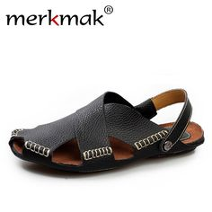 6b199722c  Visit to Buy  BIMUDUIYU Summer New Arrival Soft Leather Beach Sandals  Handmade Genuine Leather Casual Mens breathable Sandal Simple Design