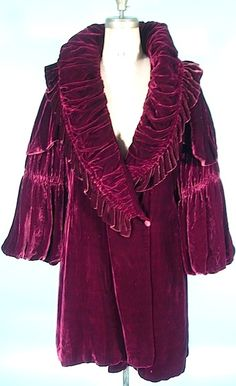 c.1920's/1930's Plum Silk Velvet Short Evening Coat. http://alittlebitofthisthatandeverything.blogspot.com/?view=flipcard                                                                                                                                                                                 More