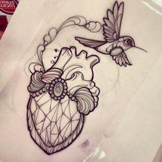 Tattoo by m1ss_juliet of Instagram Diamond/heart hummingbird