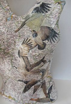Plaster torso decorated with map and birds Plaster, Figurative, Dressing, Window, 3d, Projects, Gypsum, Plastering, Log Projects