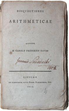 Carl Friedrich Gauss,  Disquisitiones Arithmeticae