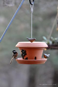 the garden-roof coop: DIY Flowerpot Bird-Feeder