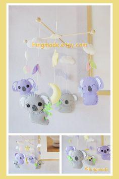 Koala Mobile - Baby Nursery Mobile - Modern Mobile - Australian Purple Gray Koala theme(Custom color available) on Etsy, $101.00