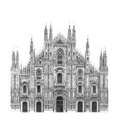 Il Duomo Cathedral - Milan. Architectural Street and Building Drawings. See more art and information about Minty Sainsbury, Press the Image.