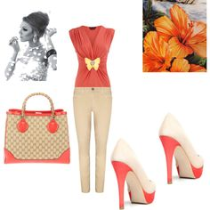 Beautiful coral color for spring.  Love the handbag!