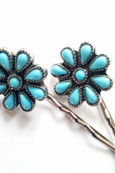 Turquoise Bohemian Flower Hair Pins by bluehoneyjewelry on Etsy, $28.00