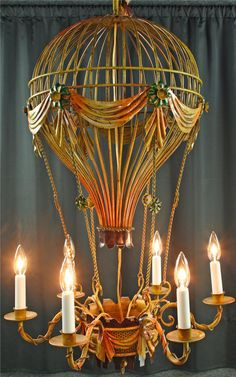 Reproduction Montgolfier Hot Air Balloon Chandelier, Painted Metal, 6 Lights