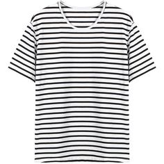 Yoins Stripped T-shirt (£12) ❤ liked on Polyvore featuring tops, t-shirts, black, over sized t shirt, oversized t shirt, oversized tops, ripped tops and ripped t shirt