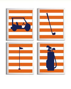 Golf Sports Nursery Boy Girl Navy Orange Stripes by ZeppiPrints, $56.00
