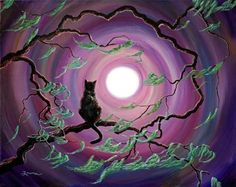 """Black Cat Original Painting on Canvas Zen Moon Tree Moss Purple Wiccan Night Iverson. """"The Wind in my Fur"""" The luminous full moon shines on black cat. The tree branches are bare, except for the lacy moss, blowing in the wind. The autumn night sky is in predominantly shades of mauve and purple, the moss in green and teal. This zen landscape is an original acrylic painting on a gallery-wrapped stretched canvas (the 3/4"""" staple-free sides are finished off in black acrylic). It has been…"""