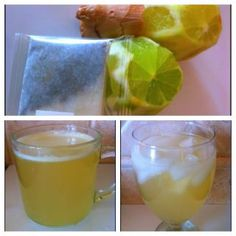Ginger lime Green Tea  This recipe is so packed with benefits I can't include them all but here is a few  Ginger: fights ovarian and colon cancer, treats morning and motion sickness, inflammation heartburn migraine cramp and cold relief!   Green tea: fights cancer and heart disease, lowers cholesterol, BURN FAT, prevent diabetes stroke and dementia.   Wow! The short of it is drink this!   Juice the line and ginger and add to tea. Serve hot or cold. Enjoy!!