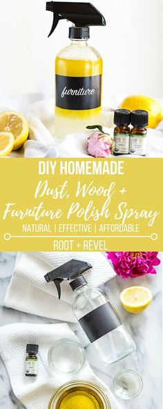 This DIY homemade dust, wood furniture polish spray is a safe, affordable  and natural cleaning alternative to toxic store-bought cleaners.