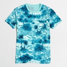 J.Crew Factory slim beach T-shirt ($20) ❤ liked on Polyvore featuring men's fashion, men's clothing, men's shirts, men's t-shirts, mens slim fit shirts, j crew mens shirts, mens beach shirts, mens slim shirts and mens cotton shirts