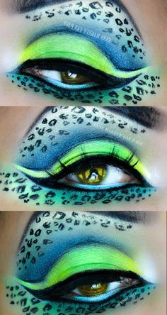 Neon Leopard Eye Makeup by Ann A. Exotic! Best makeup brushes click here ... https://www.youtube.com/watch?v=XKfi0G1DoZc #makeup #makeupbrushes #realtechniques