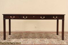 SOLD - Kittinger Traditional Vintage Writing Desk or Library Table - Harp Gallery Antique Furniture